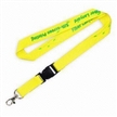 Yellow Eco-friendly Lanyard, Made of Bamboo/PET/Cotton, with Plastic Buckle and Silkscreen Printing