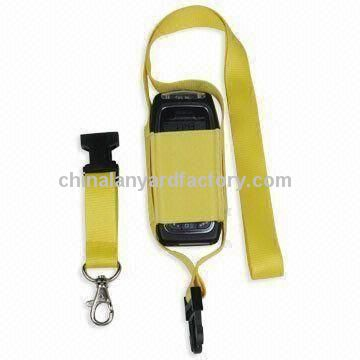 Mobile Phone Holder Lanyards, Made of Polyester Material, Available in Yellow Color